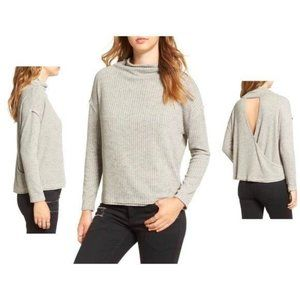 Anthro ASTR Gray Open Back Cowl Neck Knit Top